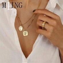 MLING Vintage oro cuadrado de aleación collar más nuevo de la cara colgante con retrato Collar para las mujeres