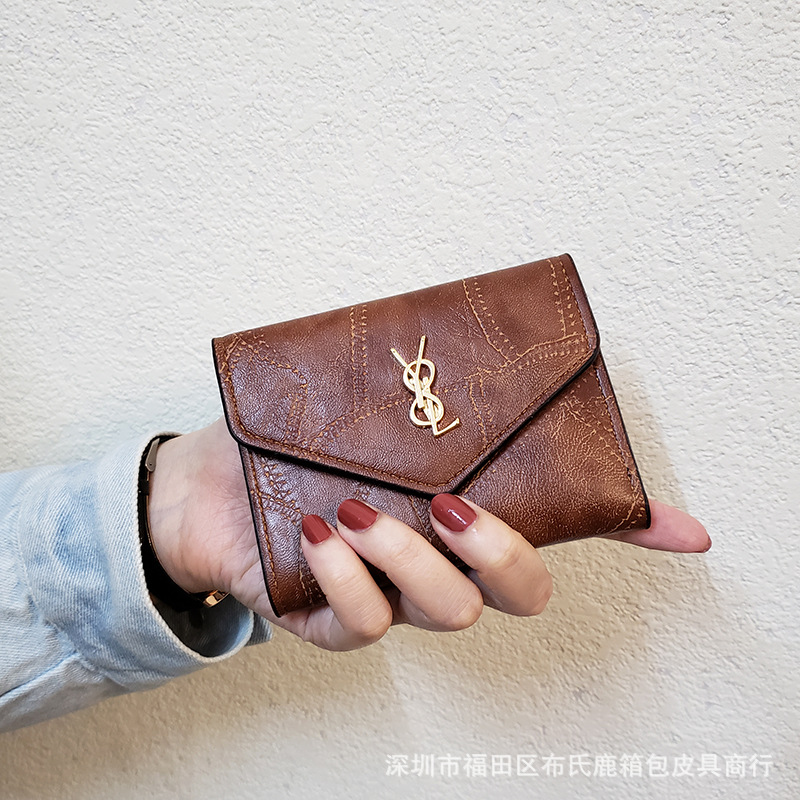 2020 New Style Car Suture Small Wallet Women's Short Korean-style Cute Hipster Students Women's Wallet Three Fold Wallet