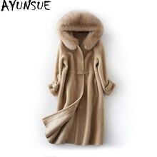 AYUNSUE, новинка, зимнее женское пальто из натуральной шерсти, Овечья овчина, длинная куртка, пальто, женская парка из натурального Лисьего меха, верхняя одежда LX2400
