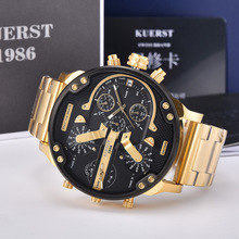 KUERST Mens Gold Watch Luxury Top Brand Waterproof Sport Quartz chronog
