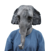 Halloween Costume Masquerade Party Elephant Full Head Mask Animal Cosplay Latex Realistic Breathable Carnival Props