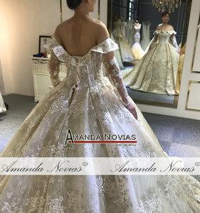 Image 3 - Vestido de novia de lujo con cuentas, pedrería recargable, sin velo, Dubái, 2020