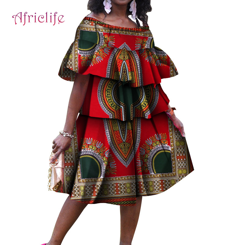 WY4746 African Dresses For Women Fashion Cotton Casual Dress Ankara Printing Wax Traditional Clothing Plus Size Cupcake Dress