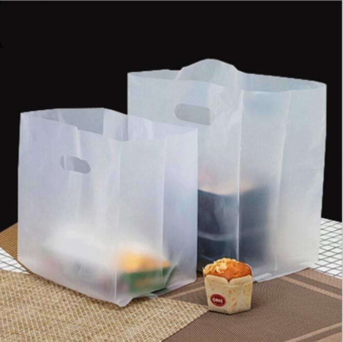 Sac demballage en plastique Transparent avec poignée, sac 50pcs, sacs à emporter pour aliments de fête