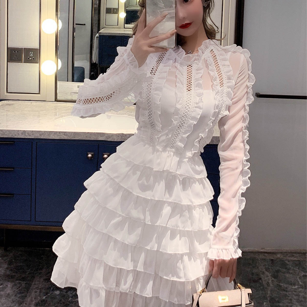 Cake Dress 2020 New Style Holiday Spring And Autumn Women's Dress Textured Pleat Flounced Elegant Long Sleeve Immortal Skirt