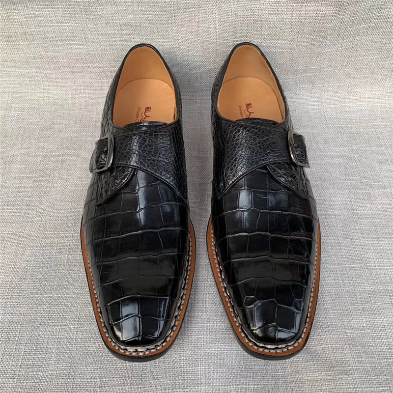 Authentic Crocodile Belly Skin Stitched Sole Businessmen's Dress Shoes Genuine Alligator Leather Male Buckle Strap Oxford Shoes