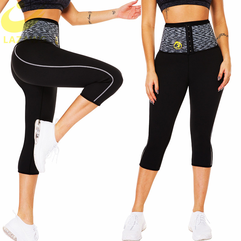 LAZAWG Mulheres Suar Calças Quentes Neoprene Sauna Sweat Shorts Cintura Instrutor Calcinha Controle Shaper Do Corpo Da Cintura Com Gancho Treino Curto