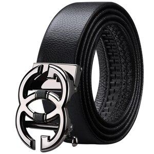 Image 3 - WilliamPolo Cinturón de cuero de grano completo para hombre, cinturones de cuero genuino de alta calidad para hombre, correa de Metal con hebilla automática