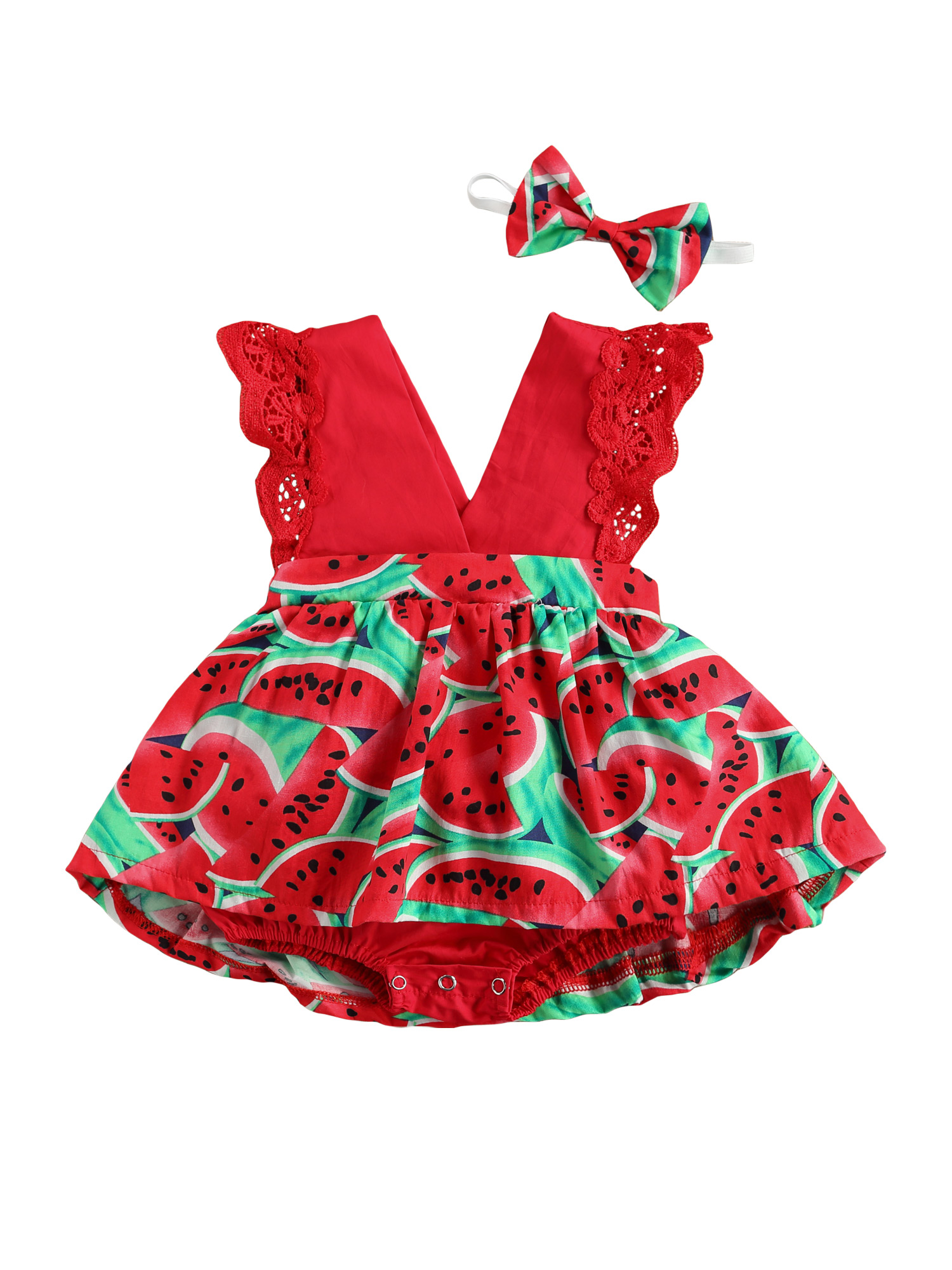 Baby Girl Clothes Watermelon Print Girls Romper Sleeveless Deep V-neck Short Jumpsuit Bow-knot Headband Children's Clothing Set