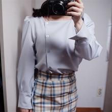 HziriP delicato 2020 collo quadrato All-Match lanterna maniche Casual alta qualità sciolto ufficio signora elegante breve camicie da donna