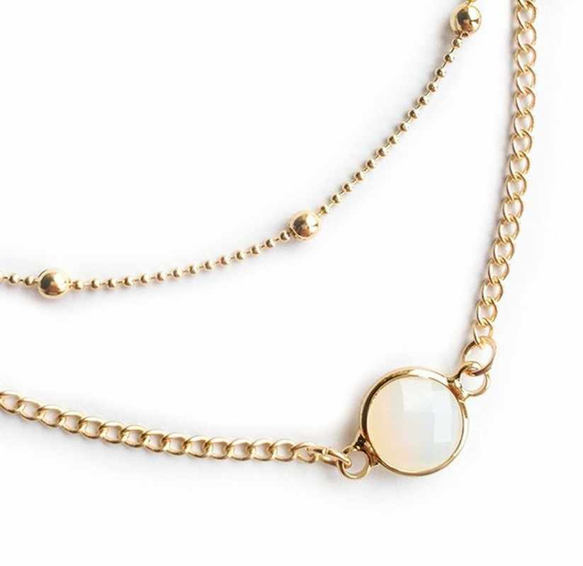 Fashion Tiny Dainty Double Necklaces for Women Natural Stone Round Pendant Gold Color Choker Ethnic Jewelry Girlfriend Gifts