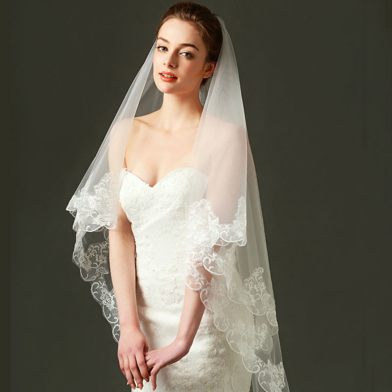 Купить с кэшбэком Tanpell Fashion Wedding Veils Ivory Tulle Appliques Edge Long wedding accessories bridal veil for wedding