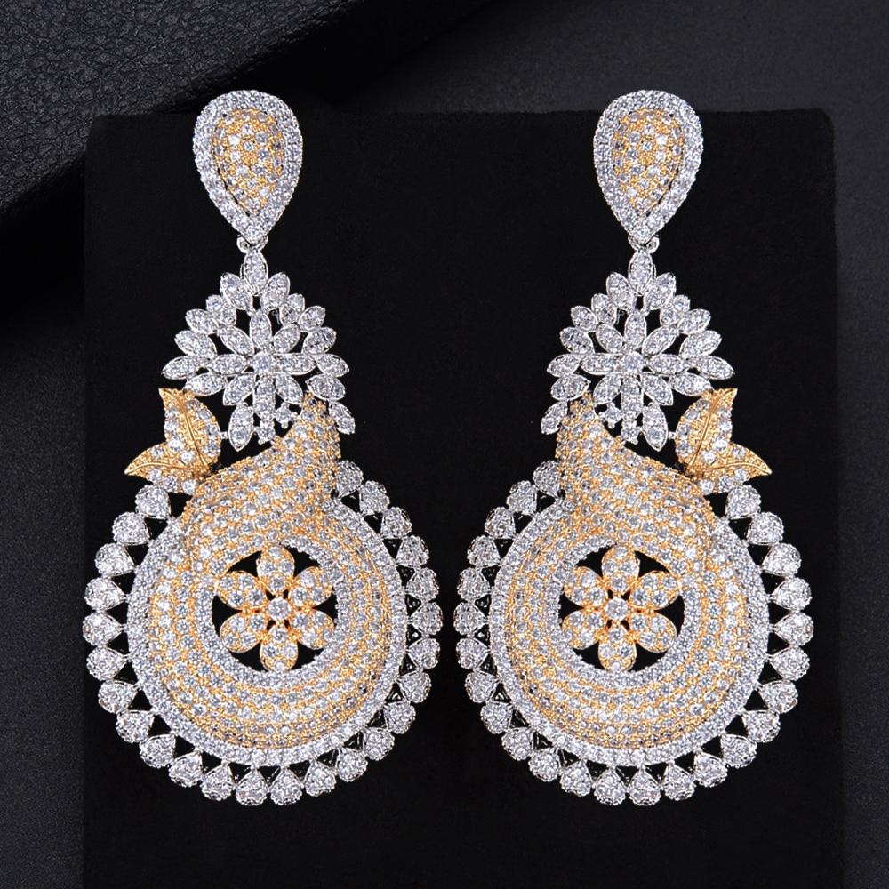 LARRAURI luxe romantique Mini CZ boucles d'oreilles populaire élégant fleur pleine zircon cubique femmes mariage boucle d'oreille bijoux dépendance