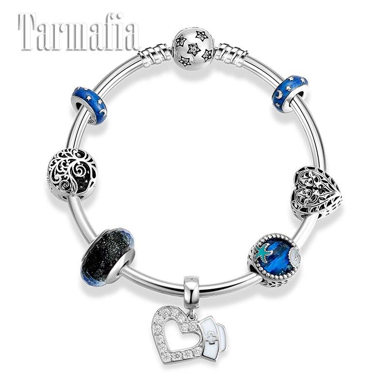 Mode 925 argent Sterling arbre de vie Murano perles de verre Bracelet étoile serrure charme bleu CZ coeur pendentif bracelets femmes bijoux