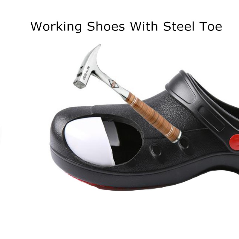 Safety Shoes Steel Toe Casual Flat Chef Work Shoes Unisex Breathable Lightweight Non-Slip Kitchen Cook Working EVA Shoes
