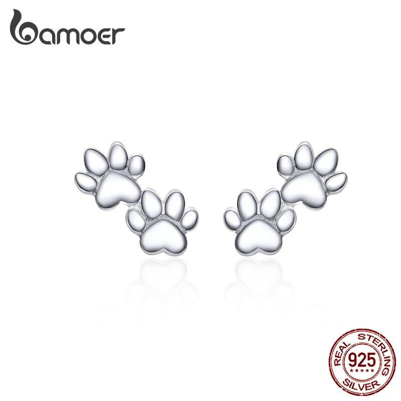 Bamoer Dog Paw Silver Stud Earrings For Women 925 Sterling Silver Cat Pet Footprint Earings Jewelry Accessories SCE718