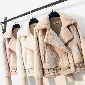 Winter Women Faux Lamb Leather Jacket Turndown Collar Zipper Punk Loose Overcoat Female Warm Thick With Belt Plush Outerwear цена 2017