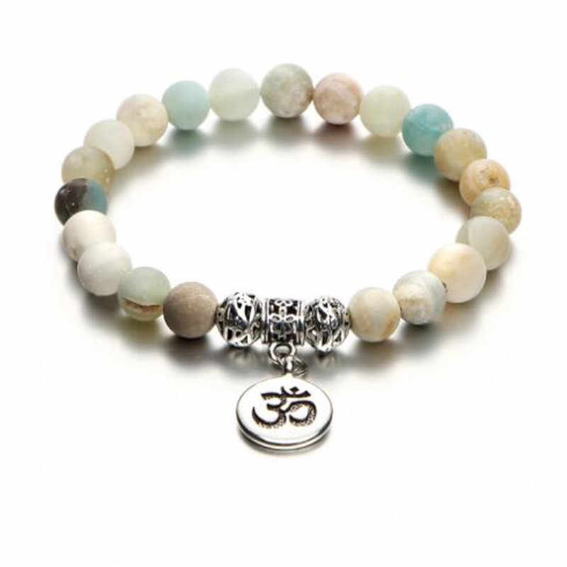 WKOUD pierre naturelle brin Bracelet Yoga Chakra Mala Bracelet OM Lotus femmes hommes Bracelet à breloques en perles bijoux Pulseras livraison directe