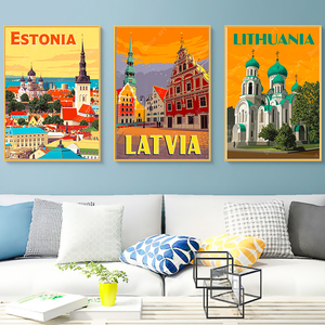 Estonia Lithuania Latvia Riga Tallinn Travel Canvas Paintings Vintage Pictures Kraft Posters Coated Wall Sticker Home Decor Gift(China)