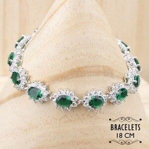 Image 2 - Ensemble de bijoux en Zircon vert argenté, Costume 925, boucles doreilles, pendentif et collier, bagues, ensemble de bijoux, coffret cadeau pour femmes