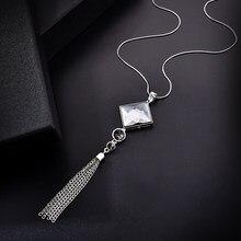 Moda feminina senhora grande strass cristal quadrado pingente longo corrente borla camisola colar festa gota colar jóias