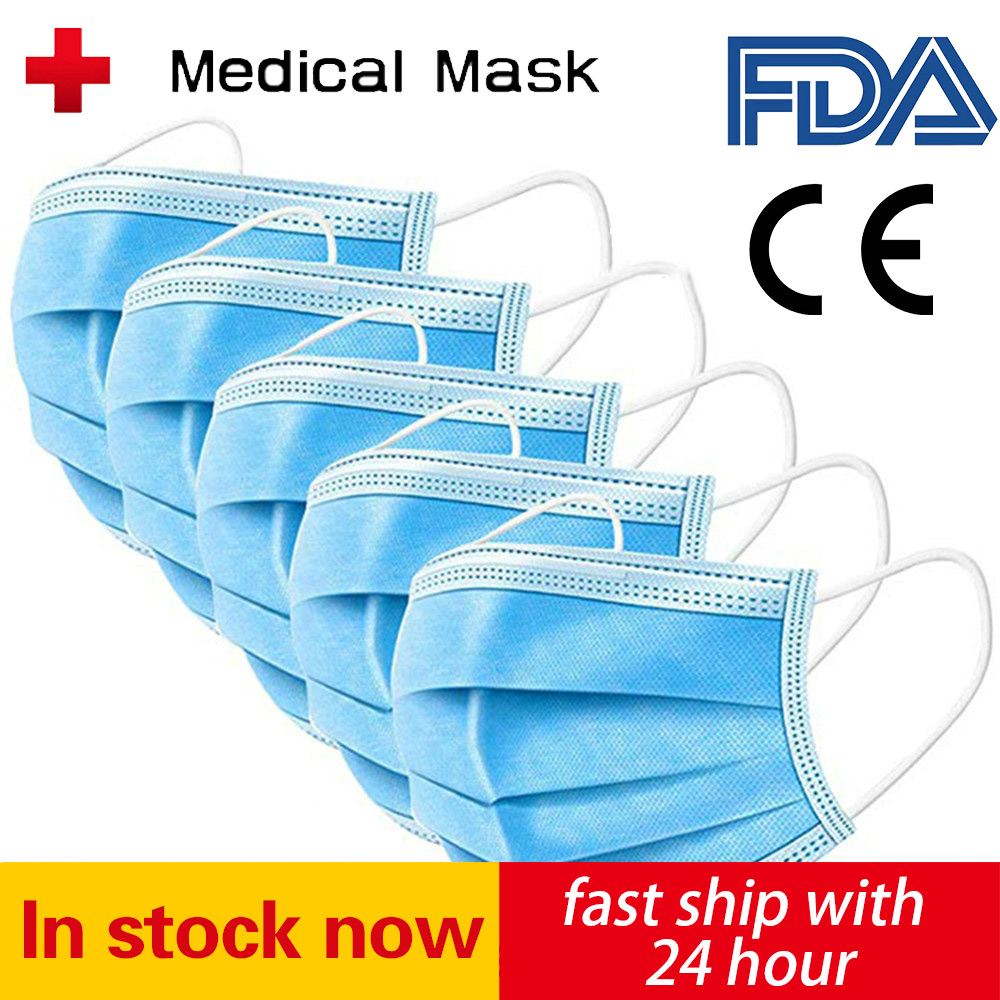 200PCS Disposable Mask Face Mouth Anti Dust 3 Layers Filter Earloop Non Woven Dustproof Mouth Mask Fast Delivery