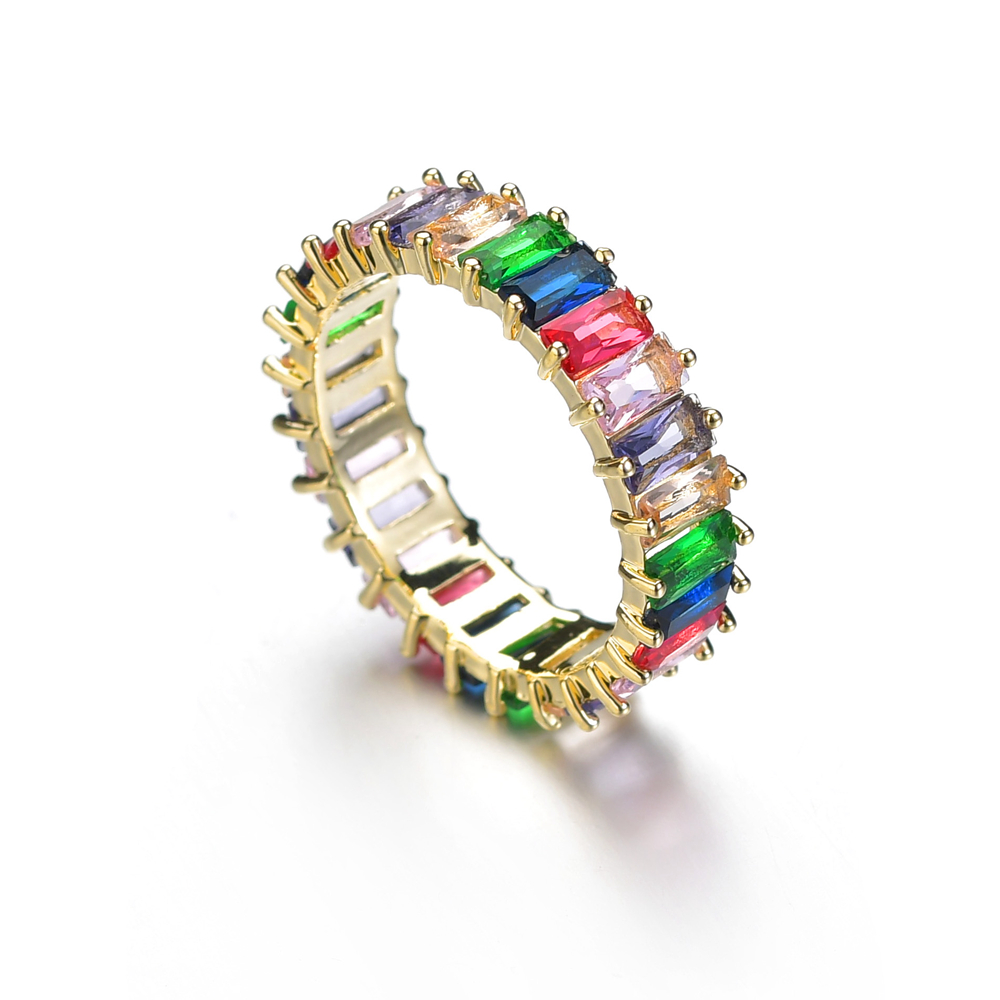 Rainbow Baguette CZ Eternity Band Trendy Engagement Wedding 1 Row Colorful Cubic Zirconia Rings for Women