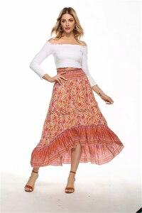 Image 5 - Винтажная шикарная Женская Хиппи с цветочным принтом, Пляжная богемная плиссированная юбка с высокой эластичной талией и оборками, макси трапециевидная Бохо Юбка Femme