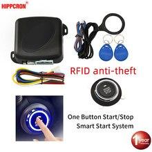 Hippcron Auto Alarm Start Stop Taste Motor RFID Keyless Entry System Push Button Remote Starter Stop Auto