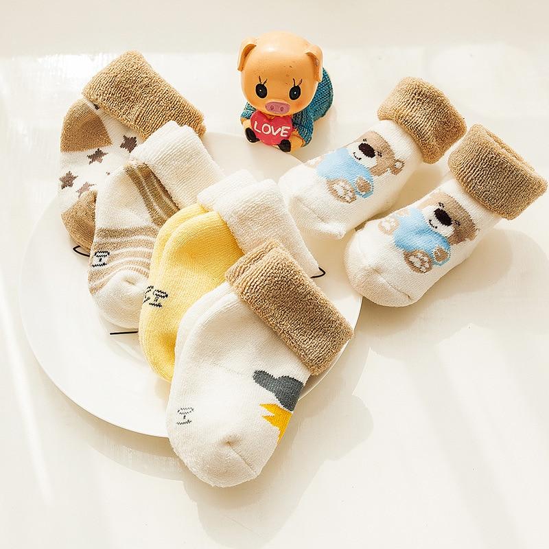 5Pair/Lot Baby Socks Warm Autumn Winter Kids Girl Boy Short Socks Thick Soft Cartoon Dot Printed Children Toddler Socks