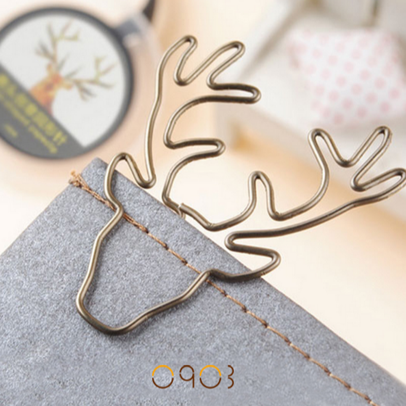 8 Pcs/lot Cute Vintage Animal Deer Elk Metal Paper Clips Bookmarks Photo Memo Clip Stationery Office School Christmas Gifts
