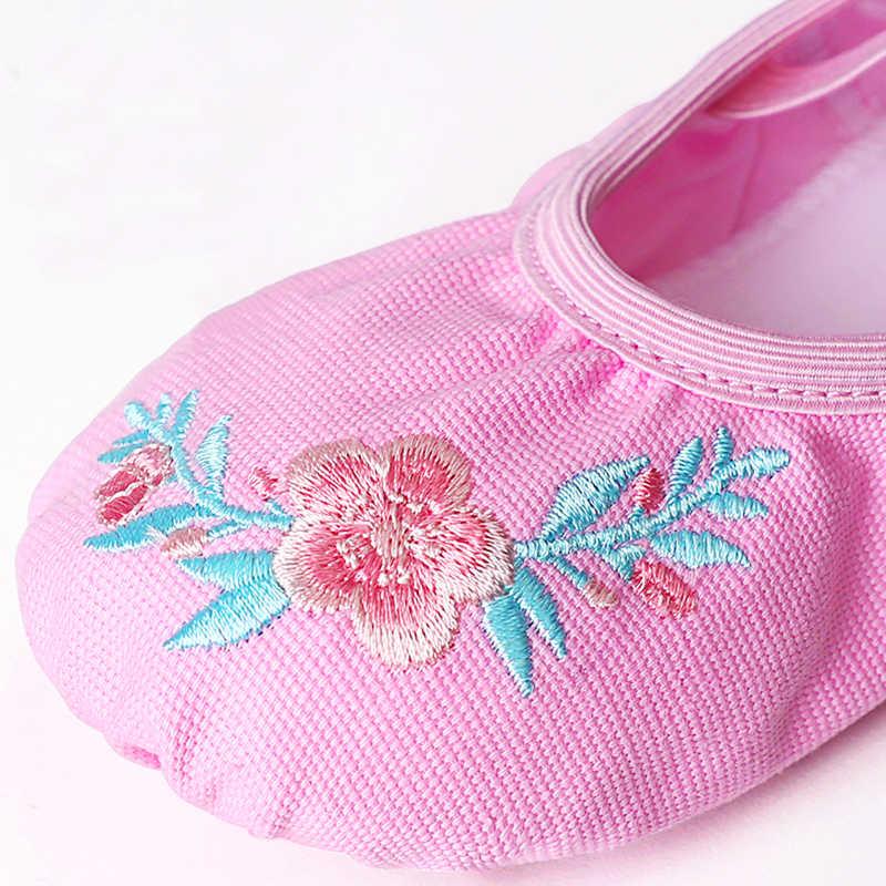 Kızlar oyalamak bale ayakkabıları çocuklar dans terlik bölünmüş taban jimnastik dans ayakkabıları