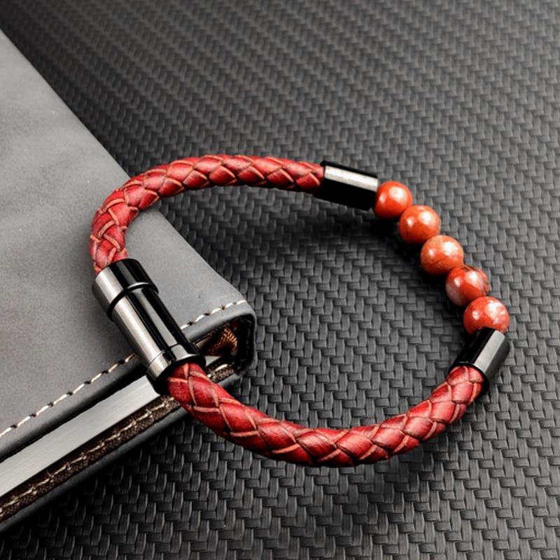 Bracelet en cuir tressé pour hommes et femmes, nouveau, breloque rouge, pierre naturelle