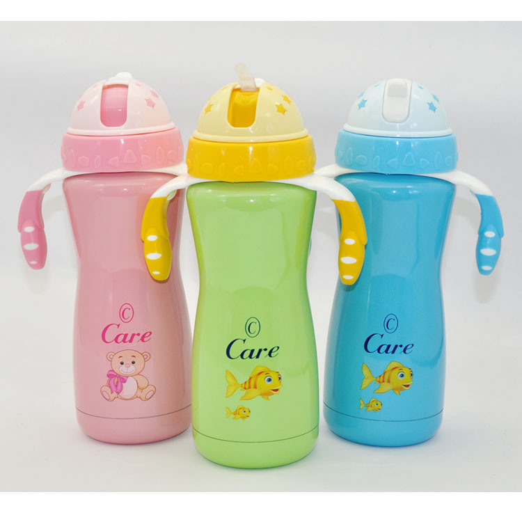 Children Insulated Cup Kindergarten Students Thermal Insulation Kettle Infant Straw Insulated Cup 340 Stainless Steel Water Cup