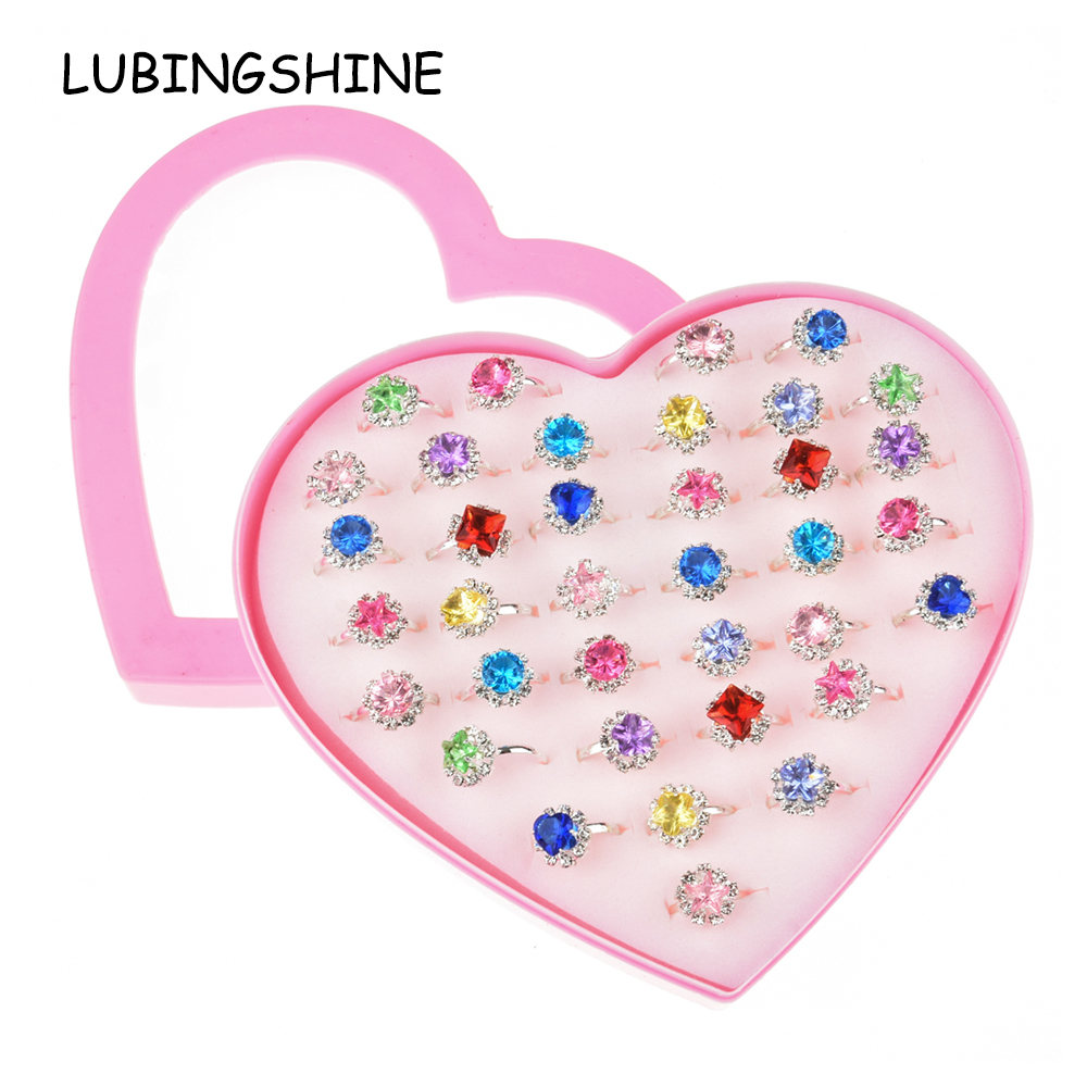 36 PCS/set Adjustable Kids Rings Jewelry Heart Crystal Open Finger Ring For  Children Girls Birthday Party Gift Without Box|Rings| - AliExpress
