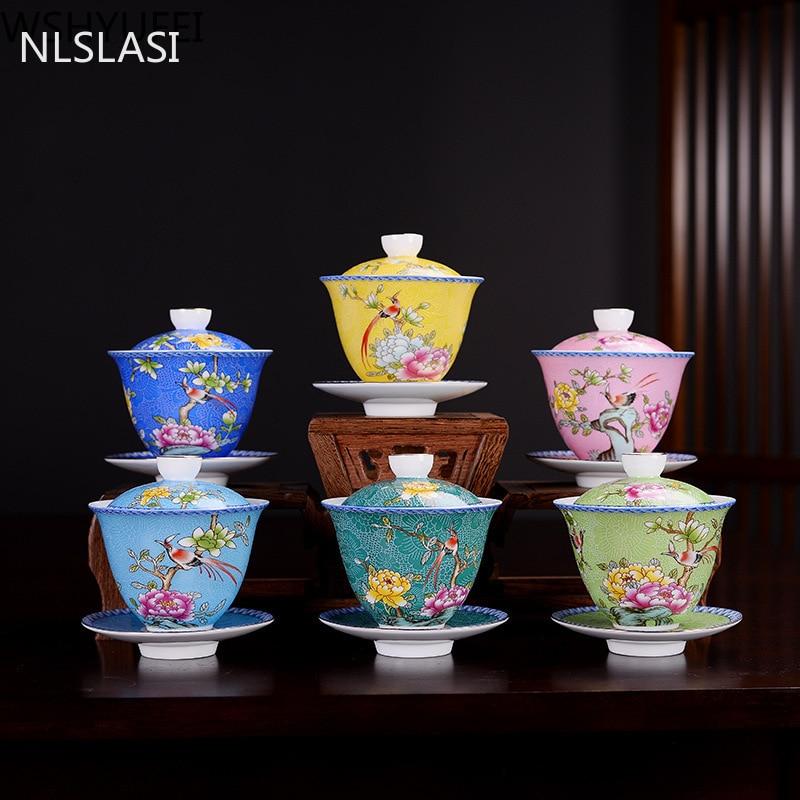 NLSLASI Jingdezhen ceramics Gaiwan Exquisite Enamel Color Handmade Tea Bowl Hand painted flower and bird Teaset 150ml Drinkware