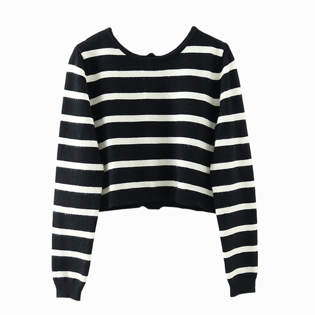 Cropped cardigan with black and white stripes