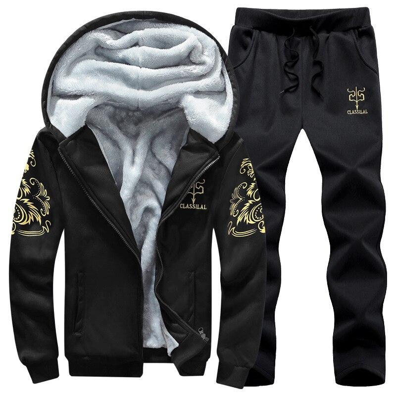 Plus Velvet Long-sleeve Suit Men's 2019 New Style Men's Casual Warm Coat Youth Men Fashion & Sports Two-Piece Set