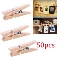 50Pcs/Pack Mini Photo Clothes Clip Wooden Home Organizer Clothespin Peg