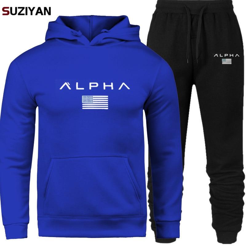 Men's Sets Hoodie And Pants Print Alpha Jackets Sweatsuit Male Sportswear Tracksuit Men Set 2019 Brand Sporting Suit Track Sweat
