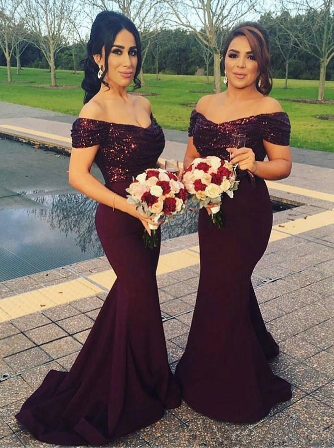 Burgundy 2019 Cheap   Bridesmaid     Dresses   Under 50 Mermaid Off The Shoulder Sequins Long Wedding Party   Dresses   For Women