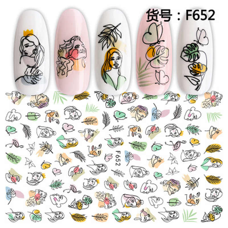 1Pcs Zomer Sticker Nail Art Decoraties Vlinder Decals 3D Stickers Vrouw Gezicht Fruit Folie Manicure Wrap