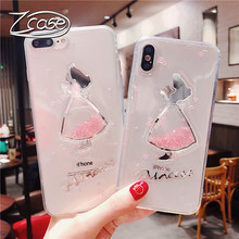 Cute skirt quicksand phone case for iphone 6 6s 7 8 plus Luxury Soft silicone TPU cover X XS XR MAX Funda