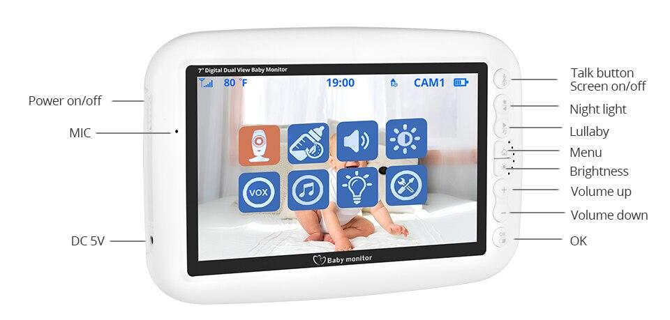 noturna intercom lullaby babá bebê monitor vídeo suporta interruptor tela