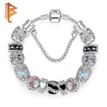 BELAWANG, винтажные, DIY, хрустальные, стеклянные бусины, браслеты-шармы для женщин, оригинальные браслеты и браслеты с безопасной цепочкой, роскошные ювелирные изделия