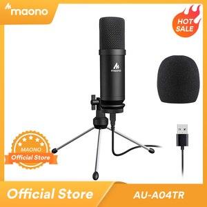 MAONO USB микрофон конденсаторный микрофон 192 кГц/24 бит профессиональный микрофон с подставкой для штатива для компьютера Youtube