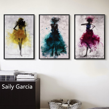 Abstract Woman in Yellow Blue Rose Red Dress Dancing Print Canvas Painting Picture Home Wall Art Bedroom Modern Decoration