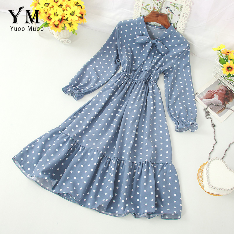 YuooMuoo Polka Dot Shirt Dress Bow Bandage Long Sleeve A Line Dress 2019 Autumn Chic Sweet Women Dress Knee-length Vestidos