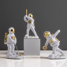Modern creative astronaut spaceman mini planet series miniature figurines Resin Craft fairy garden desk room home decoration(China)