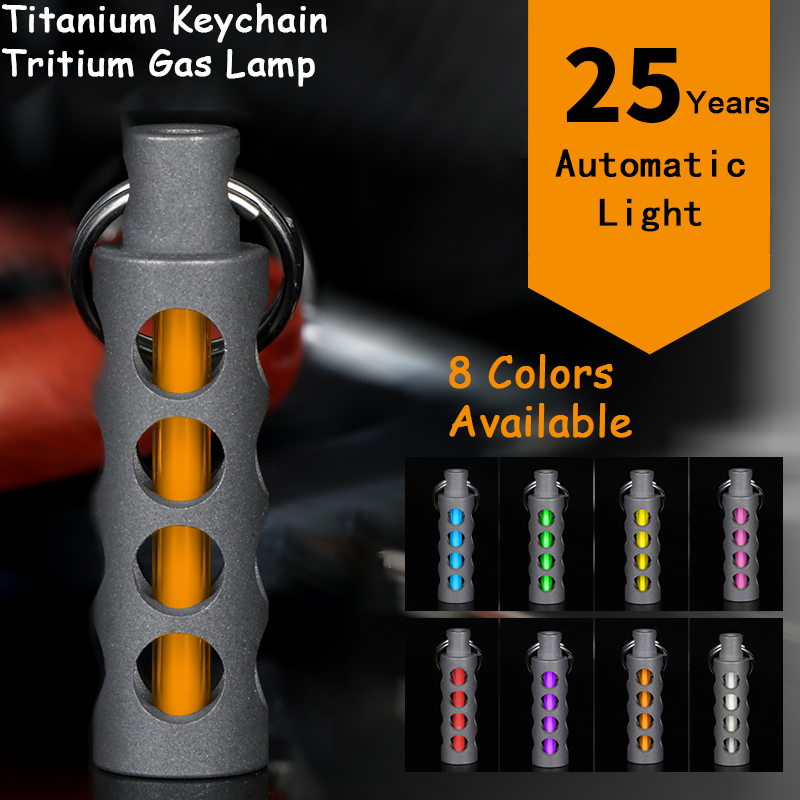 Outdoor EDC Tritium Gas Lamp Automatic Light 25 Years Titanium Alloy Key Ring Fluorescent Tube Lifesaving Emergency Lights
